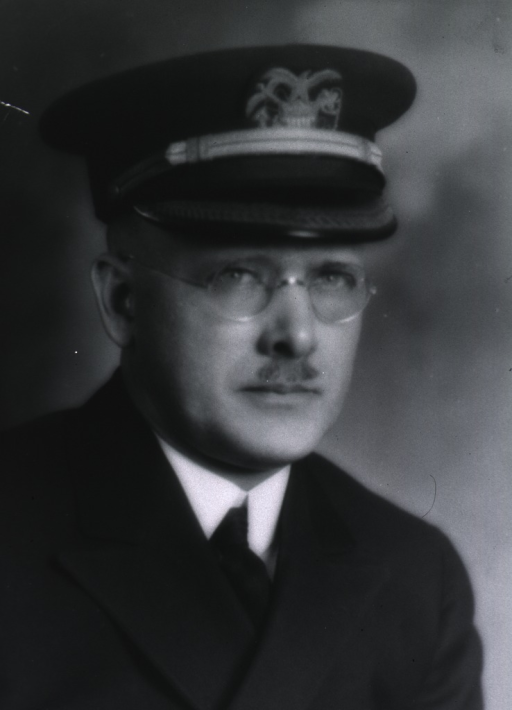 <p>Bust, full face, body to right, wearing cap with insignia of USPHS.</p>