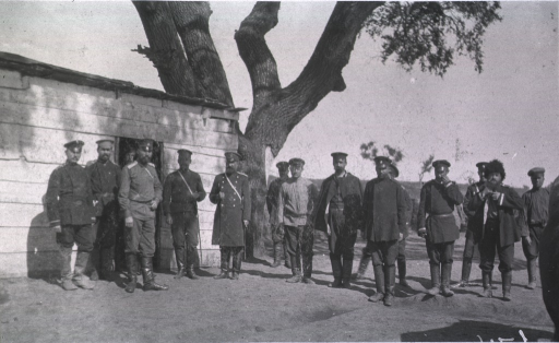 <p>Personnel standing outside a building of a veterinary lazaret.</p>