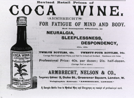 <p>A bottle of Coca Wine stands next to the advertising text.</p>