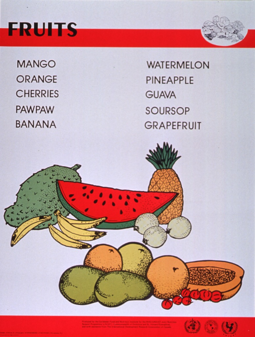 <p>Predominantly white poster with black lettering and red highlights.  Title at top of poster along with a line drawing of several different foods.  Specific fruits listed below title.  Dominant visual image is a color illustration of many kinds of fruit, including watermelon, pineapple, bananas, etc.  Publisher and sponsor information at bottom of poster.</p>