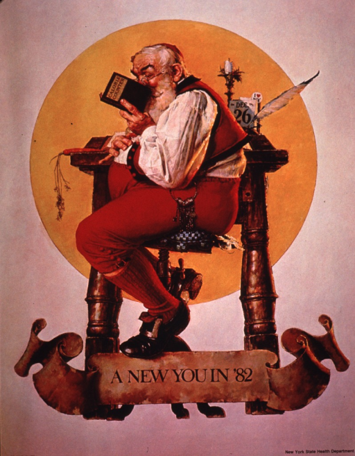 <p>Predominantly tan poster with brown lettering.  Visual image is an illustration of Santa Claus sitting on a stool and consulting a calorie counter.  Title at bottom of illustration.  Publisher information in lower right corner.</p>