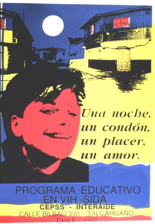 <p>Multicolor poster with black lettering.  Visual image is an illustration of the face of a young adult superimposed on the backdrop of a town at night.  Title and publisher information in lower portion of poster.</p>