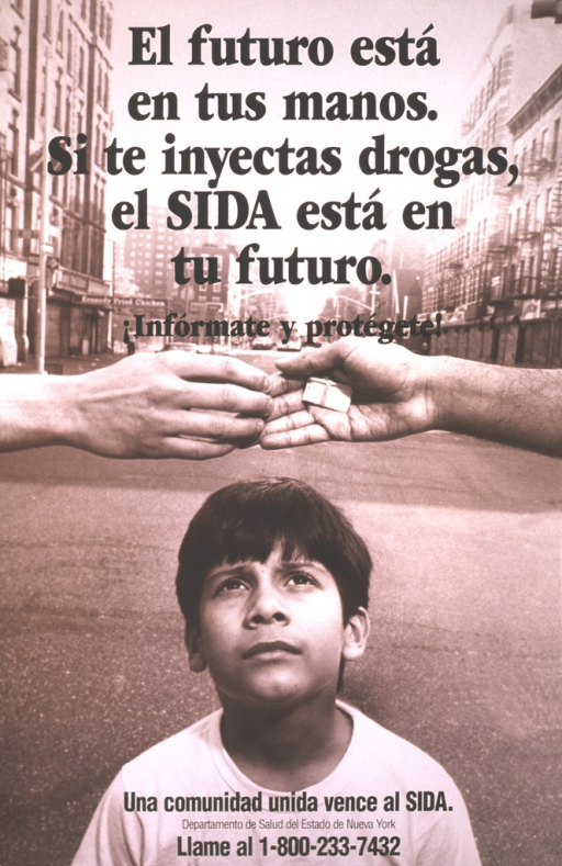 <p>Shows a young boy standing in the middle of the street, looking up to see hands reaching across his head exchanging drugs.  He is set against a drab brown background showing the sides of the city streets.  At the bottom of the poster is printed &quot;Una comunidad unida vence al SIDA&quot; along with a phone number for information.</p>