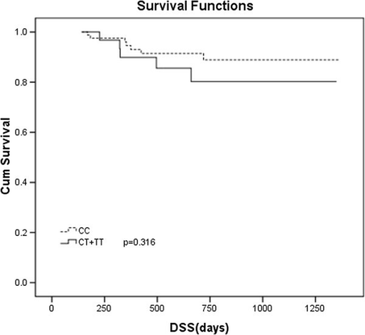 Disease specific survival (DSS) in DLBCL subjects with CD20 Exon2[216] polymorphism. Kaplan-Meier curve of DSS was plotted by CD20 Exon2 [216] CC and CT plus TT genotype.