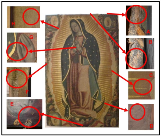 "The painting ""Virgen de Guadalupe"" (oil on canvas) and magnification of the sampling areas.A) Sample VG1, face side of the painting; B) Sample VG2, face side; C) Samples VG7 and VG4, face side in areas showing biodeterioration signs; D) Sample VG5, reverse side in an area showing biodeterioration signs; E) Sample VG6, face side in an area showing biodeterioration signs; F) Sample VG3, face side; G) Sample VG9, face side in an area showing no signs of biodeterioration; H) Sample VG8, reverse side in an area showing no signs of biodeterioration."