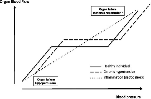 Organ blood flow and blood pressure relationships in healthy individuals, individuals with chronic hypertension, and patients with septic shock. The third linear relationship is theoretical.