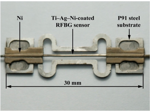 A laboratorial prototype of a metal-packaged strain sensor based on the RFBG in H2-loaded PS1250/1500 fiber.