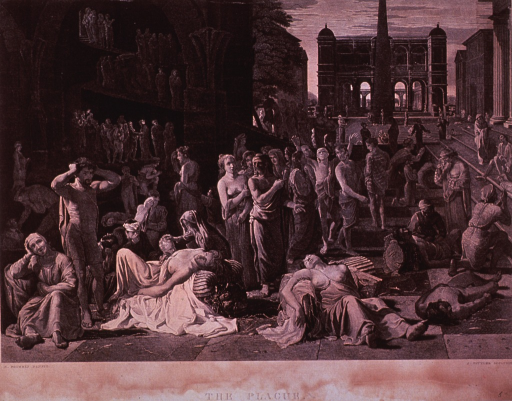 <p>In a courtyard scene, many people have gathered, some attending to their own troubles through prayer, others attending to plague sufferers; bodies of plague victims lie in the foreground.</p>