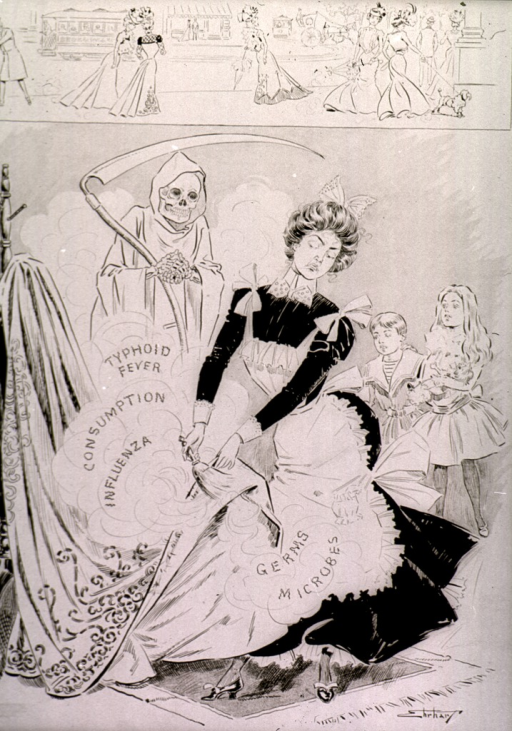 <p>A shrouded Death stands with scythe rubbing his hands together with approval as a domestic servant sweeps dust from a carpet raising a cloud labeled &quot;Typhoid, Consumption, Germs&quot; etc.; children stand in the background; street scene across top border.</p>