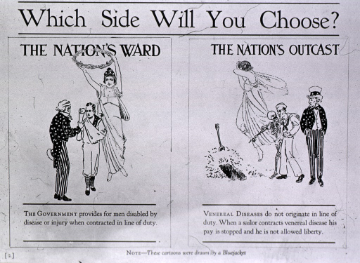 <p>Poster warning sailors that compensation is not paid for veneral disease.  Visual motif:  Uncle Sam, Hygeia and Death advise sailor.</p>