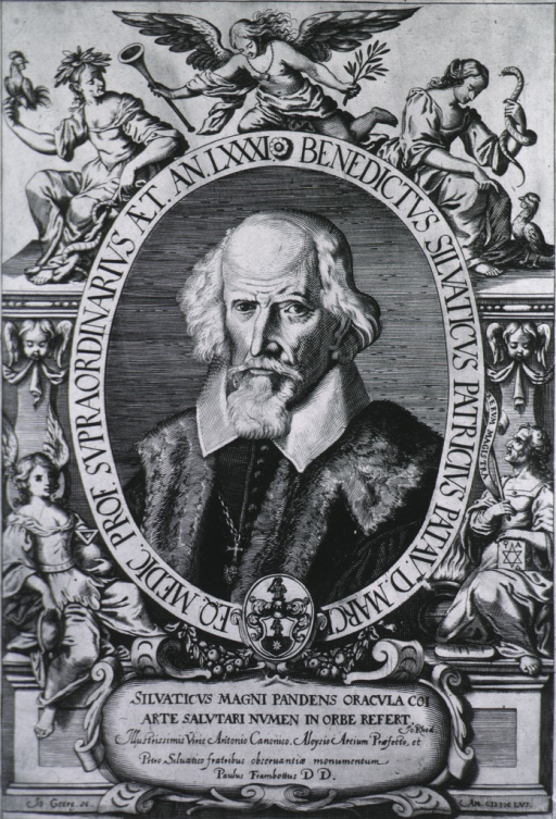 <p>Head and shoulders, as old man; in oval within decorative symbolical border; coat-of-arms.</p>