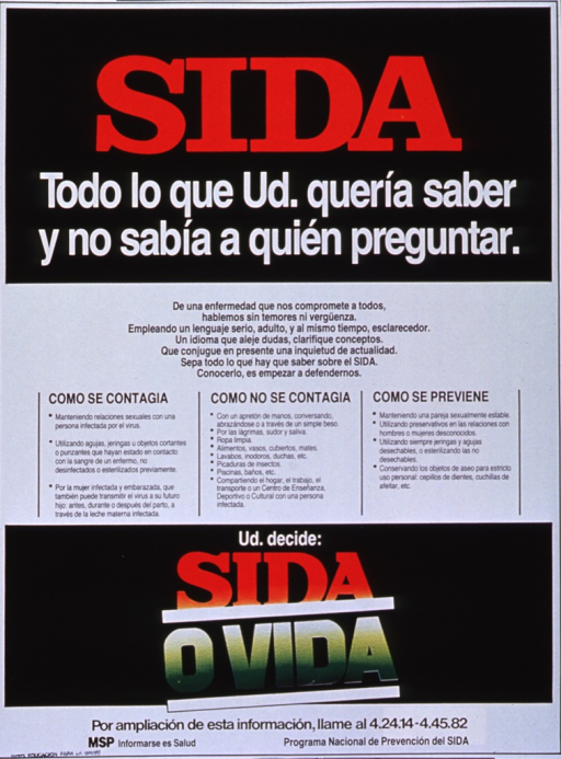 <p>Black and white poster with multicolor lettering.  Title at top of poster.  Center of poster dominated by text dispelling myths about how AIDS is transmitted and outlining steps for prevention.  Caption below text urges the reader to decide between AIDS and life.  Publisher information at bottom of poster.</p>