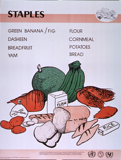 <p>Predominantly white poster with black lettering and tan highlights.  Title at top of poster along with a line drawing of several different foods.  Specific staples listed below title.  Dominant visual image is a color illustration of many types of starches including bread, rice, yams, cornmeal, etc.  Publisher and sponsor information at bottom of poster.</p>
