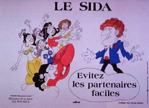 <p>Predominantly white poster with black lettering.  Title at top of poster.  Visual image is a color illustration of six women, dressed in costumes suggestive of a harem, gesturing eagerly to a man.  Caption below illustration encourages avoiding &quot;easy&quot; partners.  Publisher and sponsor information at bottom of poster.</p>