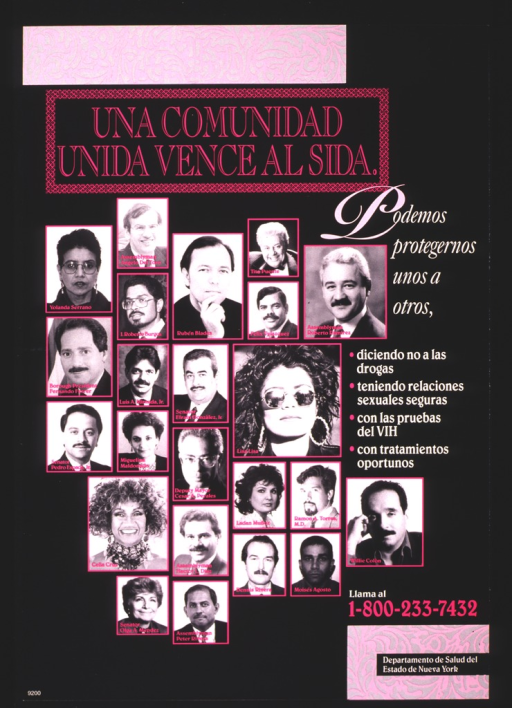 <p>The center of the poster is filled with portraits of prominent members of the Hispanic community.</p>
