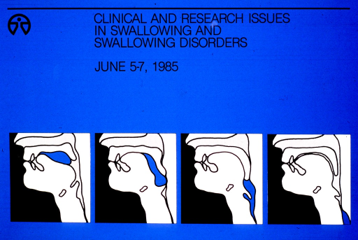 <p>The top portion of the poster gives the title, date of the lecture, and the Clinical Center logo.  The bottom portion has 4 squares, each with a diagram showing a side view of the interior of the human head from the nose down to the middle of the neck.  The diagrams show the process of swallowing, sometimes with difficulty.</p>