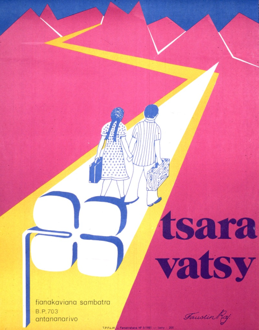<p>Predominantly purple and yellow poster with blue lettering.  Visual image is an illustration of a man and a woman walking down a path that leads into the mountains.  Each carries a suitcase.  Title near lower right corner.  Publisher information near lower left corner.</p>