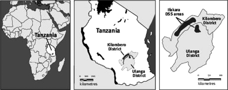 Maps of Africa, Tanzania and the Ifakara HDSS area.