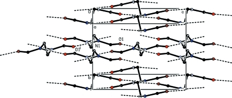 Partial packing view showing the formation of the two dimensional network through N-H···O hydrogen bonds which are shown as dashed lines. H atoms not involved in hydrogen bonding have been omitted for clarity. [Symmetry code: (i) -x+1/2, -y+1, z-1/2]