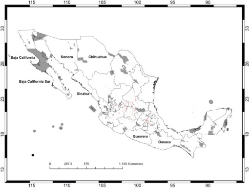 Opuntia Records in México.The existing protected areas are shown in gray. The red dots show the sites from which Opuntia occurrence records were available. The states that are named are those that are mentioned later in the Discussion.