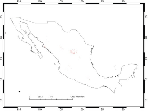 The predicted distribution of Opuntia chaffeyi in México.This distribution model was created using only four records and, accordingly, shows a highly restricted range. Darker areas have higher predicted habitat suitability.