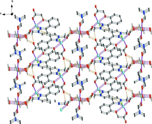 A view along the a axis of the crystal packing of the title compound, with the hydrogen bonds shown as dashed lines - see Table 1 for details.