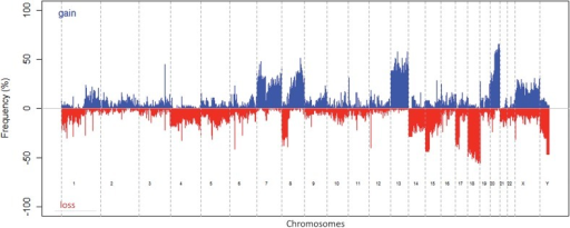 Frequency of DNA copy number alterations of all 93 samples for the whole genome.Gains are represented in blue, losses in red.