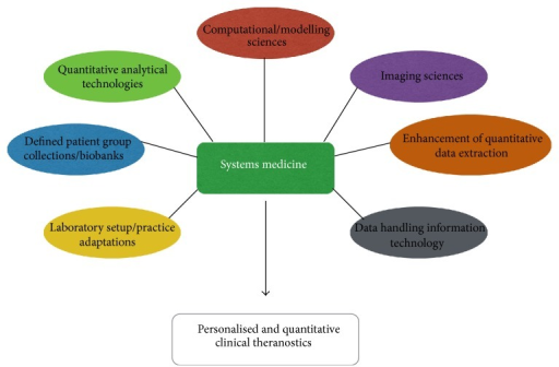 Overview of the required facets for implementation of systems medicine approaches to modern medical research.