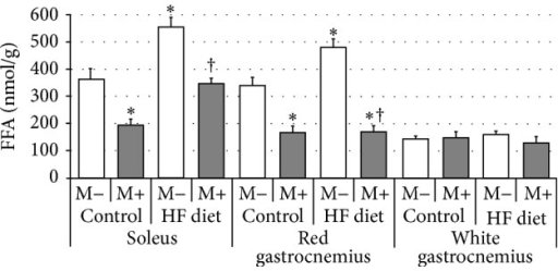 Effect of high-fat diet (HFD) feeding (5 weeks) and/or myriocin application (7 days) on free fatty acids (FFA) content in skeletal muscles (n (per group) = 8). M+: rats administered with myriocin. M−: untreated group. Results are expressed as means ± SD. ∗p < 0.05 compared with control group. †p < 0.05 compared with HF diet group.
