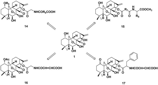 Synthesis of 1-O and 14-O-derivatives (14–17) of oridonin.