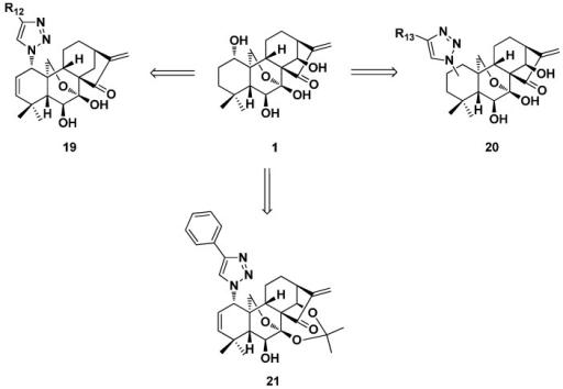 Installation of azides and 1,2,3-triazole at the C-1, -2, or -3 position derivatives (19–21) of oridonin.