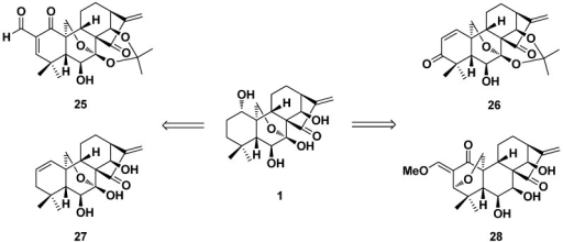 The dienone derivatives (25–28) of oridonin with the α,β-unsaturated ketone system in the A-ring.