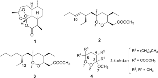 Artemisinin (1), plakortin (2), dihydroplakortin (3), and general structure of 3-methoxy-1,2-dioxane synthetic analogues (4).3,4-cis indicates that 4a displays the OCH3 at C3 and the COOCH3 at C4 in a cis orientation.