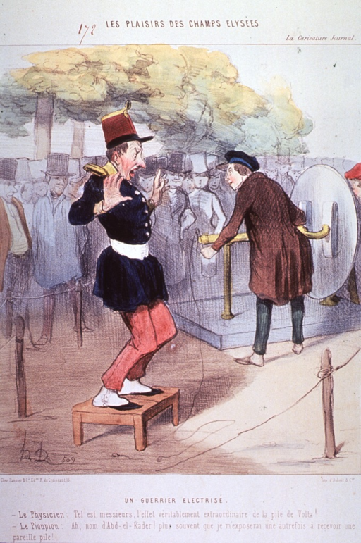 <p>An enthusiastic physicist gives a public demonstration of Volta's discoveries. In the foreground a uniformed soldier stands on a small wooden platform.</p>