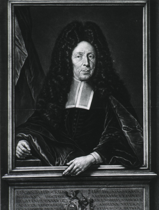 <p>Half length figure in square frame on base.  Full face; curtain in background; coat-of-arms; shows both hands.</p>
