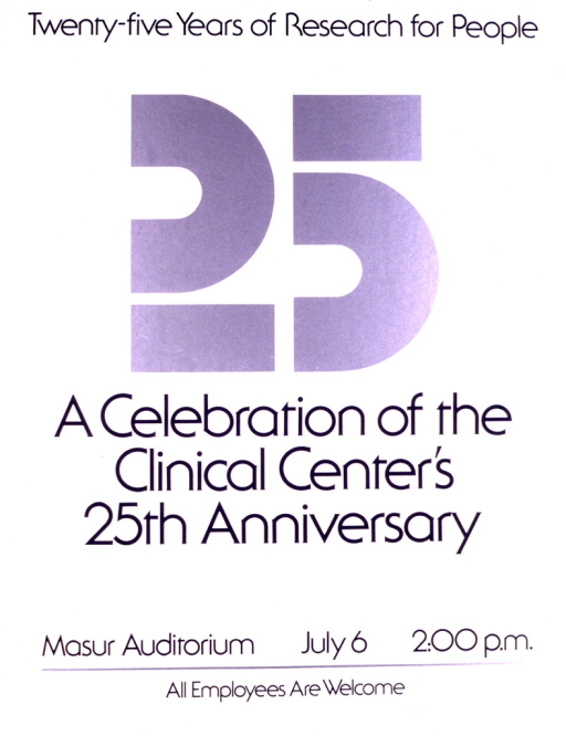 <p>White poster with a big &quot;25&quot; in silver in the top half of the poster.  The remainder of the poster is in gray lettering and gives the title, date, time, and location of the celebration.</p>