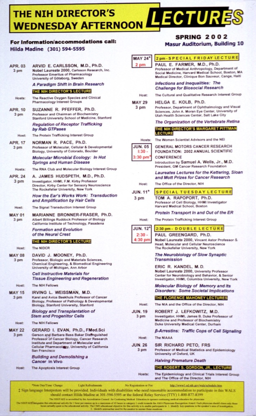 <p>White poster with yellow, black, blue, and red print. The poster lists the topics and speakers who will participate in the lecture series from April 3, 2002 through June 26, 2002.</p>