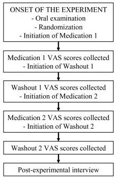 The outline of the study protocol and time-table. After each medication period or washout period the VAS score sheets were collected and new sheets for the subsequent period were provided for the patient. Post-experimental interview was performed to evaluate whether the patients had felt overall subjective alleviation of symptoms during the medication.