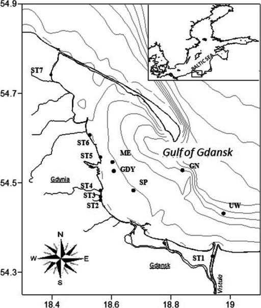 The locations of sediment sampling sites in the Gulf of Gdansk in 2011–2012