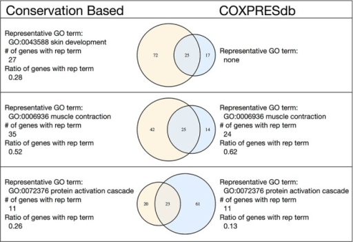 Example of the correspondence between the conservation-based method modules and the COXPRESdb-based modules.The three module pairs with the largest numbers of intersecting genes are shown. The list of all similar module pairs is provided in S7 Table.