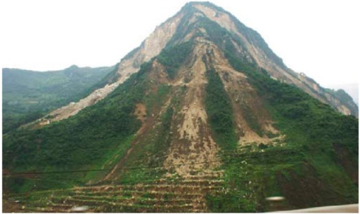 Damage phenomenon of a four sided rock slope in the Wenchuan earthquake.