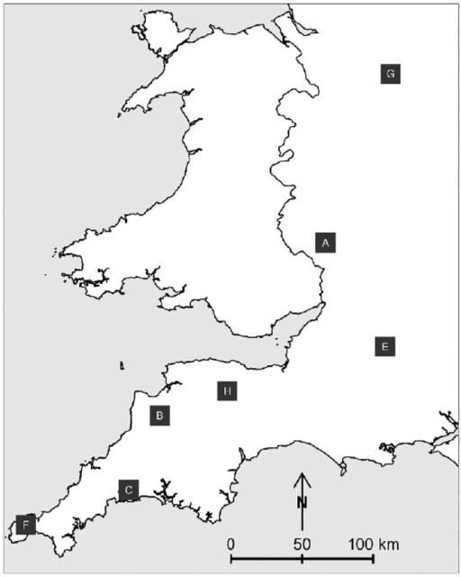 Locations of proactive trial areas of Randomised Badger Culling trial.Only the areas in which the initial cull was carried out before the trial was suspended due to the 2001 foot and mouth disease epidemic, and therefore included in this analysis, are shown.