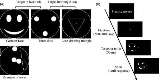 Stimuli and procedure used in Experiment 1. (a) Targets (first row) and an example of noise (second row). The targets on the left and middle were used in the face task, while the targets on the middle and right were used in the triangle task. (b) A trial sequence.