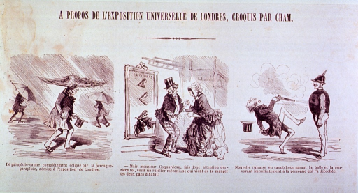 <p>Three vignettes:  Left, a man demonstrating an umbrella hat; center, a mechanical set of teeth has taken a bite out of the seat of a man's trousers; right, bullet-proof clothing?</p>