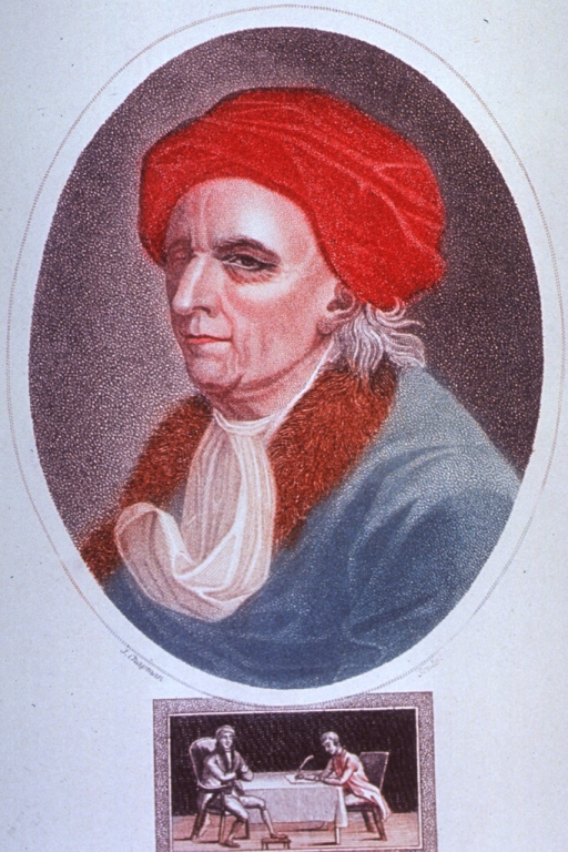 <p>Head and shoulders, left pose, wearing turban; in oval.  Beneath the portrait is a vignette showing Euler full length, sitting in a chair, and apparently dictating to a man sitting at a table writing with a quill pen.</p>