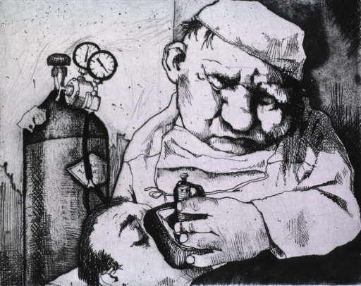 <p>A man, with his eyes closed, is holding a mask over the nose and mouth of a man lying on a table.  A tank with meters and a hose is in the background.</p>