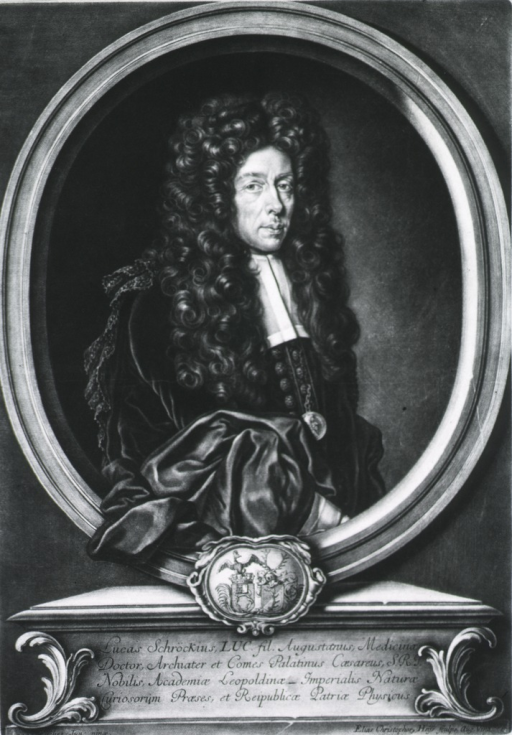 <p>In oval on base, with coat-of-arms; three quarter length, right pose, long curls.</p>