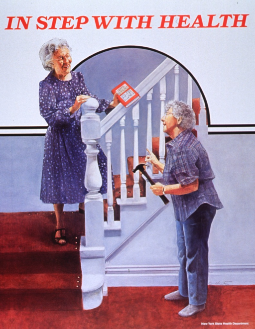 <p>Multicolor poster with red lettering.  Title at top of poster.  Visual image appears to be a reproduction of a painting, done in a style reminiscent of covers from the Saturday Evening Post.  The image features two older women on or near the stairs in their home.  One woman stands on the steps, holding a home repair book.  The other woman stands on the floor below, holding a hammer and gesturing toward her companion.  The carpet on the stairs is clearly nailed down on all edges.</p>