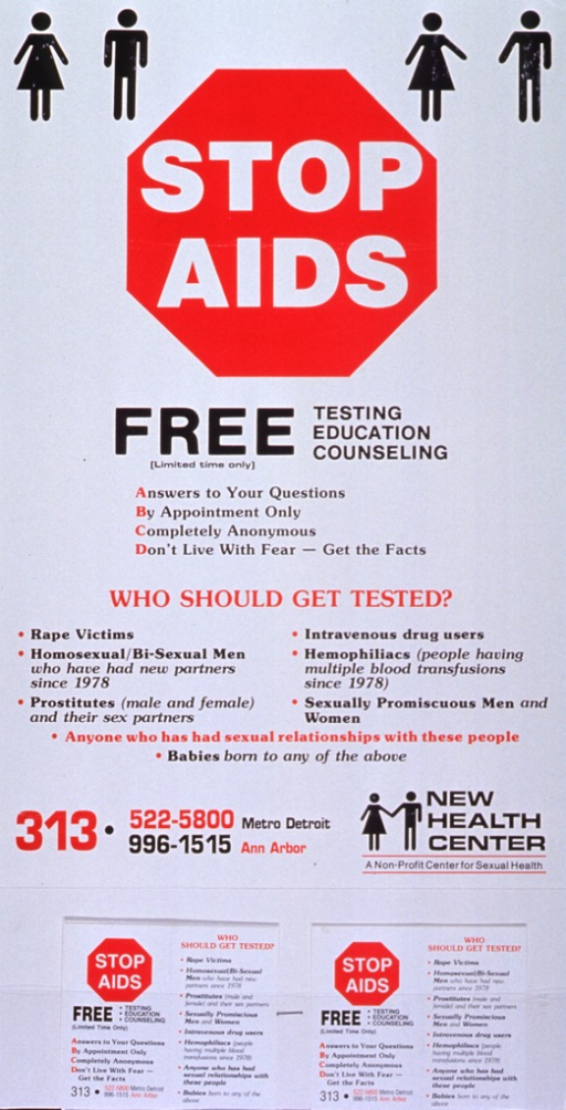 <p>White poster with multicolor lettering.  Title at top of poster, with initial phrase presented in a red octagon to simulate a stop sign.  Upper corners feature abstract male and female characters.  Text about who should be tested dominates center of poster.  Publisher information below.  An extension has been glued to the poster and a small card affixed to the extension.  The card presents the same text as the overall poster.</p>