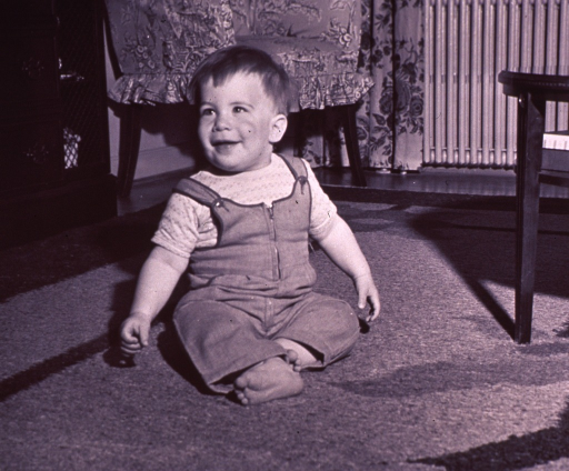 <p>An infant is sitting up on the floor.</p>